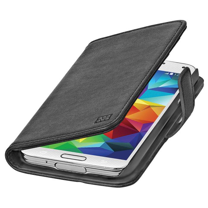 Promate Zimba-S5 чехол для Samsung Galaxy S5, Black00007727Zimba-S5 - превосходный защитный чехол с крышкой, оформленный в виде бумажника. С внутренней стороны крышки предусмотрены 3 горизонтальных кармана для визиток, пластиковых карт, проездных абонементов и т.д., а также один большой вертикальный карман. Конструкция предусматривает использование Zimba-S5 в виде горизонтальной подставки для вашего Galaxy S5. Специальные технические вырезы на чехле обеспечивают полный доступ ко всем портам и кнопкам управления устройства.