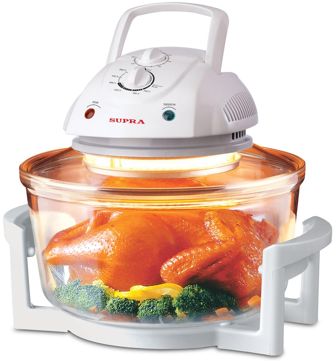Supra AGS-1101, White аэрогрильAGS-1101Аэрогриль Supra AGS-1101 совмещает в себе функции духовки, кухонной плиты, жаровни и т.д. Можете себе представить, что вы возвращаетесь с работы и готовите обед для всей семьи всего за полчаса? Вам не нужно разогревать сковородку, мешать суп, переворачивать мясо, поливать жареное мясо соусом. Теперь это возможно.Здоровая пища помогает вам оставаться в форме и не набирать лишние килограммы: готовит без добавления жира! Больше не нужно лить масло для приготовления вкусной еды. Можно добавить лишь одну ложку для вкуса. Благодаря функции вентилятора с пищи сдувается до 75% жира, а все соки сохраняются внутри. Таким образом, вы едите то, что нравится, не беспокоясь о том, что это может повредить фигуре.Аэрогриль Supra AGS-1101 одновременно готовит несколько блюд без участия и контроля хозяйки - работает по выбранному режиму, выключает себя сам и сообщает об этом звонком, тем самым избавляет от необходимости мыть плиту, жирные сковородки и кастрюли. Устройство готовит все и в любой посуде (кроме пластиковой и деревянной): жарит на решетке, жарит во фритюре,жарит шашлык, готовит домашнюю ветчину, варит каши, супы, тушит овощи, томит как русская печь, делает горячее и холодное копчение, размораживает, подогревает готовые блюда, поднимает тесто, стерилизует домашние заготовки, варит варенье прямо в банках, сушит зелень, фрукты, грибы и ягоды, делает йогурт, топит сало, варит глинтвейн, жарит семечки, орехи, кофе и многое другое!Конвекционная печьДиапазон термостата: 65-250°СВместимость колбы: 300 мм (диаметр) х 150 ммЖаропрочная стеклянная чашаТермоизолирующая подставка чаши