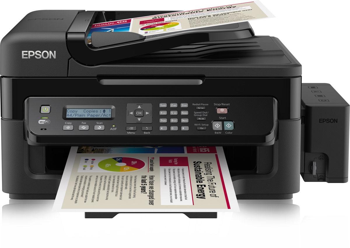 Epson L555 МФУC11CC96403Фабрика печати Epson L555 - это высокоскоростное 4-х цветное МФУ с большими емкостями для чернил объемом по 70 мл. и функцией факса, а так же возможностью беспроводного подключения по Wi-Fi, которое идеально подходит для печати больших объёмов документов с рекордно низкой себестоимостью. Благодаря высокой скорости, широкому функционалу и низкой себестоимости печати данное устройство будет вашим надежным помощником, а так же значительно сократит расходы на печать. Рекордно низкая себестоимость печати:Благодаря большим емкостям и контейнерам с чернилами по 70 мл вы сможете напечатать большой объем документов по рекордно низкой цене: - цветные документы А4 - менее 20 копеек за страницу, ч/б документы всего 7 копеек за страницу.Высокое качество печати и надежность:Благодаря уникальной технологии печати Epson Micro Piezo и точному контролю давления в емкостях с чернилами вы всегда получаете отпечатки превосходного качества. Специально разработанные материалы, на основе которых изготовлены компоненты устройства, обеспечивают долгий срок службы принтера и работу без поломок. Удобство работы и безопасная транспортировка устройства:Особая конструкция емкостей и контейнеров с чернилами позволяет даже неопытному пользователю с легкостью справиться с заправкой чернил. Специальная система блокировки чернил в емкостях гарантирует безопасную перевозку устройства, исключая возможность протечки чернил. Высокая скорость печати:Дополнительным преимуществом Epson L555 является высокая скорость печати: до 33 стр./мин. Что позволит сэкономить вам время, которое играет все большую роль в современном бизнесе. Используя данное устройство, вы можете быть уверены в том, что все необходимые документы будут распечатаны в максимально короткие сроки.Новая гарантия на Фабрику печати Epson:Подтверждением высокой надежности Фабрики печати Epson L555 является расширение гарантии по сравнению с устройствами предыдущего модельного ряда. Возможность беспроводного подключения по W
