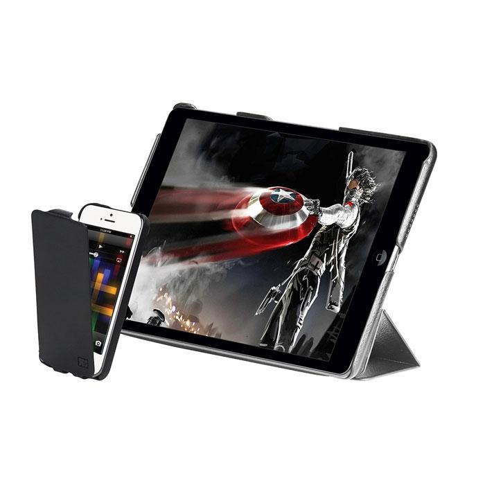 Promate Weave комплект чехлов для iPad Air и iPhone 5/5s, Black00007579Promate Weave - комплект элегантных ультратонких кожаных чехлов для защиты вашего iPad Air и iPhone 5/5s. Эти чехлы имеют качественную мягкую внутреннюю отделку с жесткой оснасткой, а также оснащены инновационным замком, который обеспечивает идеальную защиту ваших устройств. Promate Weave может использоваться и как чехол, и как вертикальная подставка. Специальные технические вырезы обеспечивают идеальный доступ ко всем кнопкам, портам и камерам как iPad, так и iPhone 5/5s.