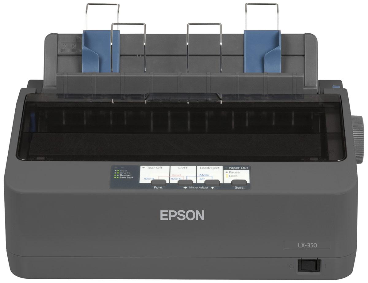 Epson LX-350 принтерC11CC24031Принтер Epson LX-350 идеален как для фронт-, так и бэк-офисов, где есть задачи по печати на непрерывном носителе. Данный принтер можно смело назвать самым быстрым в своем классе, ведь скорость печати может достигать 357 cps (12 cpi) в режиме HSD. Epson LX-350 легко интегрировать в имеющуюся инфраструктуру любой организации, т.к. в исходной модификации он оснащен параллельным, серийным и USB интерфейсами. Устройство обладает компактным дизайном, что позволяет вписывать его в ограниченное пространство. Это один из самых экономичных принтеров в своем классе за счет повышенного ресурса картриджа (4 млн символов) и низкого энергопотребления. Epson LX-350 использует всего 1,1 Вт в спящем режиме и 2,7 Вт в рабочем. Данный принтер сертифицирован Energy Star благодаря своей эффективности. В свою очередь у нового устройства по сравнению с предшественником будет отсутствовать ряд невостребованных опций, таких как: комплект для цветной печати, податчик обрезных листов.Память принтера: 128 КбКоличество колонок: 80 (в режиме 10 cpi) Скорость печати: до 357 знаков/сек в режиме High speed draft 12 cpiРесурс печатающей головки: 400 млн. ударов на иглу