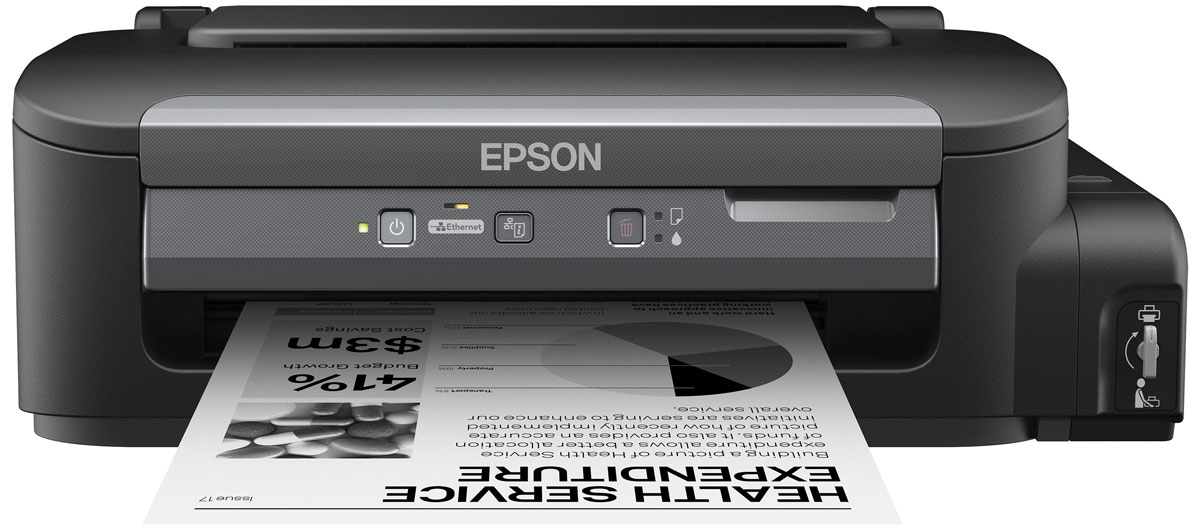 Epson M100 монохромный принтерC11CC84311Монохромный струйный принтер с рекордно низкой себестоимостью печати и пигментными черниламиМонохромная Фабрика печати Epson М100 - это компактный и удобный в использовании струйный принтер с большими емкостями для чернил объемом 140 мл. Благодаря своей уникальной конструкции Фабрика печати Epson M100 позволяет печатать документы с рекордно низкой себестоимость, а за счет использования пигментных чернил отпечатки мгновенно высыхают и не размазываться при попадании воды или механическом воздействии.Рекордно низкая себестоимость печатиБлагодаря большим емкостям и контейнерам с чернилами по 140 мл вы сможете напечатать большой объем документов по рекордно низкой цене: всего 15 копеек за документ формата А4Два контейнера с чернилами по 140 мл в комплекте.В комплекте с устройством идет два контейнера с чернилами пигментными чернилами емкостью по 140 мл. каждый. Благодаря этому приобретая новое устройство, вы можете распечатать до 11 000 отпечатков уже со стартового комплекта чернил, что, несомненно, позволит вам сэкономить, и существенно снизит стоимость владения устройством.Высокий ресурс расходных материаловРасходными материалами к Монохромной Фабрике печати служат контейнеры с чернилами высоким ресурсом. Так одного контейнера с черными чернилами хватит печать 6000 ч/б документов А4Высокое качество печати и надежностьБлагодаря уникальной технологии печати Epson Micro Piezo и точному контролю давления в емкостях с чернилами вы всегда получаете отпечатки превосходного качества. Специально разработанные материалы, на основе которых изготовлены компоненты устройства, обеспечивают долгий срок службы принтера и работу без поломок.Высокая скорость печатиДополнительным преимуществом Epson M100 является высокая скорость печати: до 34 стр./мин. Что позволит сэкономить вам время, которое играет все большую роль в современном бизнесе. Используя данное устройство, вы можете быть уверены в том, что все необходимые документы будут распечатаны в
