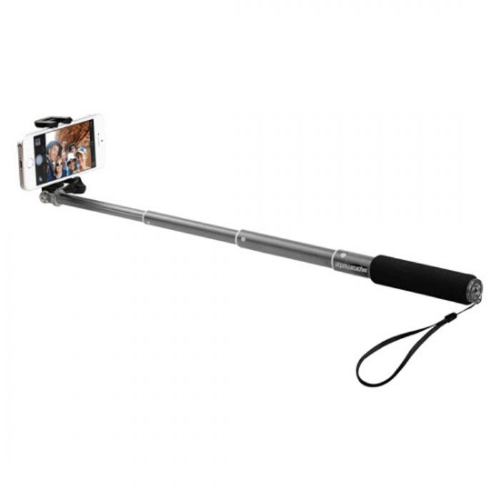 Promate monoPro-5 монопод для селфи, Grey00008077Promate monoPro-5 позволит делать селфи с помощью телескопического штатива, который выдвигается на 0,5 метра. Он легкий и компактный, обладает универсальным креплением для смартфона или фотоаппарата. Конструкция предусматривает функцию стабилизации изображения при фотографировании, нужно лишь закрепить камеру и, используя функцию отсроченного снимка, сделать селфи. Также для удобства пользователя в monoPro-5 предусмотрена прорезиненная рукоять, ремешок на кисть, съемное крепление для камеры.
