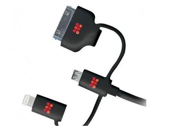 Promate linkMate-Trio, Black кабель USB00008408Promate linkMate.trio - это великолепное многофункциональное решение для синхронизации и зарядки ваших гаджетов. Его можно использовать ежедневно со всеми девайсами, которыми вы пользуетесь, вне зависимости от разъемов, используемых в них. В одном кабеле объединили сразу четыре самых популярных коннектора, такие как USB /Lightning, Apple 30-pin и Micro-USB. Заряжайте ваш iPhone или перекачивайте информацию с Samsung Note 4 - linkMate.trio применим везде. Три провода по цене одного. Изготовлен прочного flexShield материала, надежен и безопасен. Ворох ненужных кабелей заменит Promate linkMate.trio!