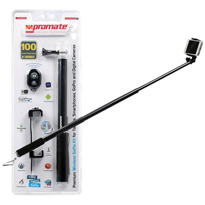Promate monoPro-Uni монопод для селфи, Black00008414С Promate monoPro-Uni вам удастся сделать шикарные селфи на смартфон, фотокамеру или GoPro. Просто установите камеру в держатель, направьте объектив на себя и всего одним нажатием на кнопку поставляемого в комплектеBluetooth пульта сделайте снимок. Никаких таймеров, никаких ограничений. monoPro-Uniэто лучший спутник в путешествие он поможет зафиксировать самые потрясающие моменты вашей жизни.