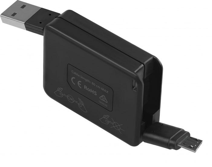 Promate Yank-M кабель microUSB00008411Promate Yank-M - это удобный, компактный, портативный кабель для синхронизации и зарядки устройств и зарядки устройств с разъемом Micro-USB. Его отличительная особенность - наличие рулетки, которая делает возможной регулировку длины кабеля, и плоский провод. Скажи нет! спутанным и висящим проводам! Кабель оснащен защитой от перезарядки и короткого замыкания и обладает функцией стабильной зарядки и бесперебойной синхронизации. Идеальное решение на все случаи жизни!