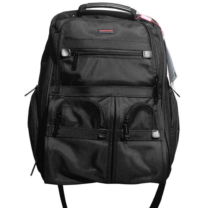 Promate Voyage рюкзак для ноутбука 1600007658Promate Voyage - отличный рюкзак с гладкой поверхностью и функциональным внутренним наполнением, вмещающий в себя ноутбук с диагональю до 16 дюймов. Основная секция предназначена для ноутбука и аксессуаров к нему. Во второй основной секции предусмотрена удобная система хранения. Также на внешней стороне предусмотрены карманы для хранения аксессуаров, к которым нужен быстрый доступ. Боковые карманы предусмотрены для емкостей под жидкость. Особо прочная ручка для ручной переноски имеет кожаную оплетку для удобства ношения. Лямки для ношения на манер рюкзака имеют регулировку, которая подгонит их длину под пользователя.