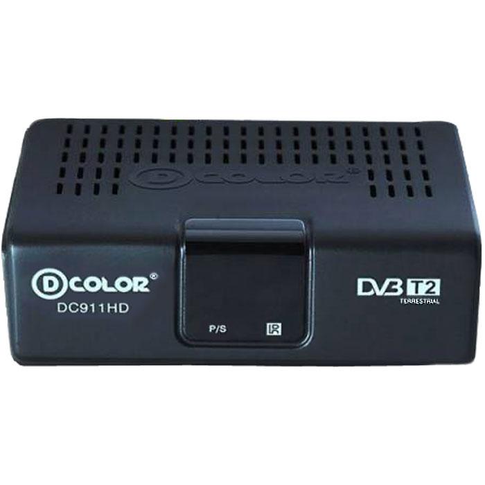 D-COLOR DC911HD Eco ТВ-тюнерDC911HD ECOПриемник D-COLOR DC911HD Eco оснащен корпусом из экологичного пластика и современным процессором Ali 3821, а также тюнером последнего поколения Mx l603. Особенности устройства:Воспроизведение цифрового видео (FULLHD 1920 х 1080) и аудио STEREO качестваСовременный чипсет со встроенным демодуляторомПростое в использовании экранное менюСохранение в памяти до 999 каналовРедактирование списка программ (добавление избранных программ, сортировка и удаление)Поддержка функции телетекстаФункция таймера, автоматическое включение/отключение (однократно, ежедневно)Диапазон принимаемых частот: 174-862 МГц.Формат экрана: 16:9, 4:3Ширина полосы потока: 6 / 7 / 8 МГц.Принимаемые виды модуляции: QPSK, QAM-16, QAM-64 для COFDM 2K/8KДопустимая скорость потока: видео до 15 Мбит/сек, аудио до 384 Кбит/сек.Звук: 2 каналаИзбранные списки каналовМногоязычное меню, включая русский.Настройка по умолчанию языков звука, титров, текста.Автоматическая синхронизация времениУстановка часового поясаТВ-замокАвтоматический и ручной поиск программРучной поиск программ по номеру канала или по частотеДиапазон напряжений питающей сети: 170-250 V AC
