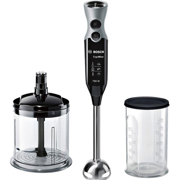 Bosch MSM 67140, Black блендерMSM67140RUЛюбая домохозяйка оценит приготовление свежих качественных блюд. Для их приготовления не надо быть профессиональным поваром. Благодаря новомублендеру Bosch MSM 67140 вы быстро и просто добьетесь профессиональных результатов на собственной кухне. Легкий, со специальной эргономичной ручкой и приятным на ощупь нескользким покрытием, блендер Bosch MSM 67140 имеет 12 режимов скорости и дополнительную кнопку Турборежим для максимальной мощности. Ножка из нержавеющей стали с 4 острыми лезвиями ножа QuattroBlade создана для быстрого измельчения и смешивания продуктов.