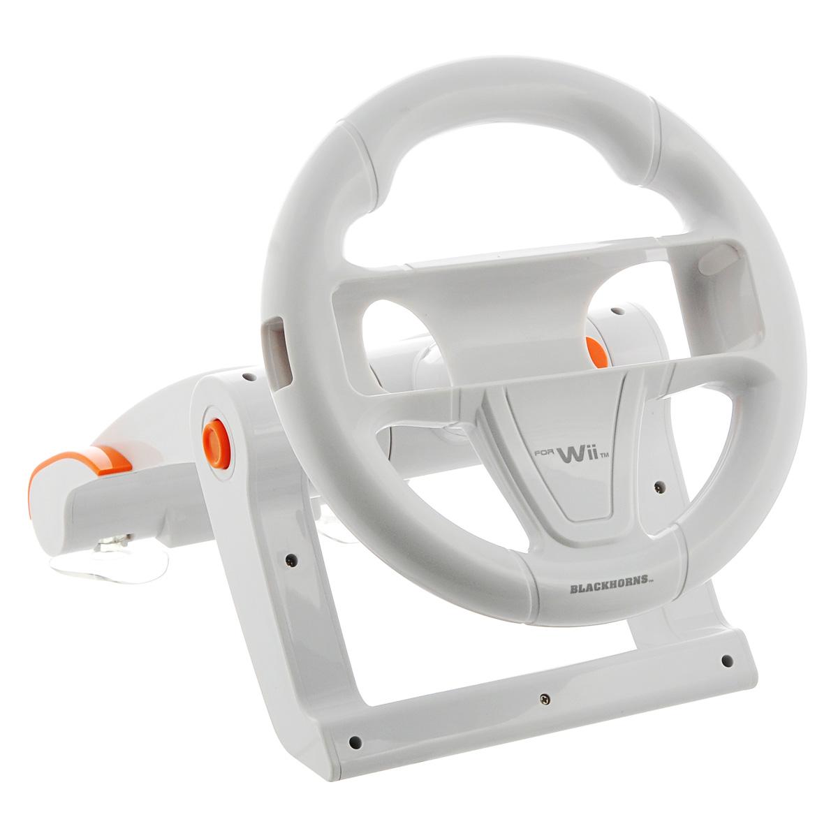 Black Horns Top Speed Racer руль складной для приставки WiiBH-Wii10901Складной руль Black Horns Top Speed Racer для приставки Wii - отличное решение для гонок и авиасимуляторов. C помощью данного аксессуара ваш джойстик превратится в настольный руль. Получите новые ощущения от гоночных игр. Надежное крепление позволяет зафиксировать руль в заданном положении. Руль может быть использован отдельно от подставки, легок в установке. Вы получите большое удовольствие, играя с данным аксессуаром. Играйте в гонки с ощущением реальности.
