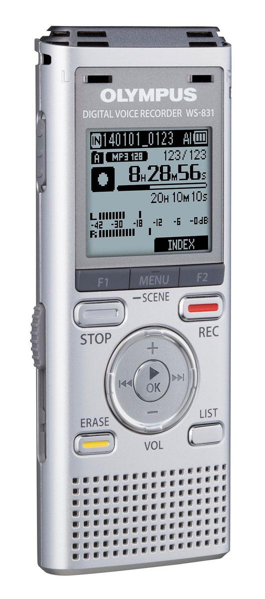 Olympus WS-831, Silver диктофон0274542Диктофон Olympus WS-831 - идеальное сочетание универсальности и функциональности. Базовая модель серии WS может похвастаться множеством полезных функций, незаменимых в ежедневной работе.Конструкция микрофона рассчитана на низкий уровень шума, а установка микрофонов под углом 90° обеспечивает отличную стерео запись, позволяя вам почувствовать атмосферу мероприятия, включая направление и местонахождение ораторов во время встречи или конференции.Функция воспроизведения голоса позволяет прослушать фрагменты, содержащие речь, автоматически пропуская прочие фрагменты записи. Функция распознавание речи позволяет легко и удобно управлять воспроизведением аудиофайлов.Легко и удобно сохраняйте данные с помощью встроенного USB-коннектора. Диктофон можно использовать не только для записи аудиофайлов, но и как USB-накопитель для обмена сохраненными данными.Компактные, легкие и невероятно удобные диктофоны серии WS незаменимы как для бизнеса, так и в повседневной жизни. От деловых встреч до изучения иностранных языков: диктофоны серии WS достаточно компактны, чтобы следовать за вами по пятам, и достаточно умны, чтобы оказать неоценимую помощь в ваших делах.Звук: стереоТребования к ПК: Windows XP (SP2 или выше), Vista, 7, 8; Mac OS X 10.5 - 10.9Материал: пластик