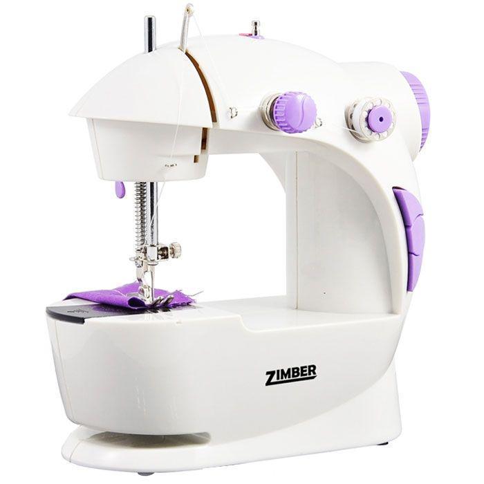 Zimber 10920-ZM швейная машинаZM-10920Мини Швейная машинка Zimber ZM-10920 c подсветкой незаменима какдома, так и на даче, и в дороге. Благодаря своим небольшимразмерам и очень малому весу, она всегда будет у вас под рукой. С этойминиатюрной швейной машинкой вы сможете подшить или подогнать пофигуре одежду, починить брюки, джинсы, шторы, постельныепринадлежности, отремонтировать и усовершенствовать практически любыевещи, имеющиеся в вашем доме. Она также станет прекрасным подаркомдля Ваших близкихМашинка работает на 4 батарейках типа АА или на сетевом адаптере переменного тока. У нее 2 скорости шитья и 2 винта