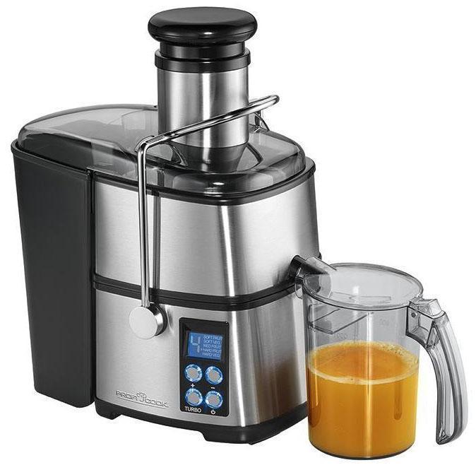 Profi Cook PC-AE 1070 соковыжималкаPC-AE 1070Автоматическая соковыжималка в корпусе из нержавеющей стали быстро и эффективноприготовит сок, богатый витаминами и минеральными веществами.Возможность готовить сок из цельных яблок, моркови и других фруктов и овощей.Максимум 18 000 оборотов в минутуГорловина диаметром 75 ммКонтейнер для сока (объем 1 л)Контейнер для мякоти объемом 1,6 л5 скоростных режимов, электронный контроль скоростиРежим ТУРБОМногофункциональный LED-дисплей с синей подсветкойФильтр и центрифуга из высококачественной нержавеющей сталиЛегко разбирается для мытья и чисткиЗащитная блокировкаМощность 800 Вт