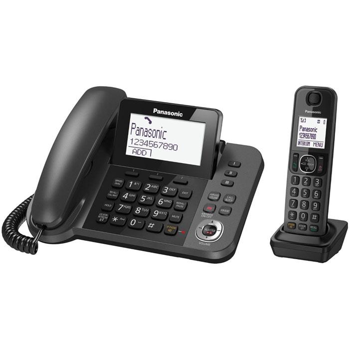 Panasonic KX-TGF320RUM DECT телефон с автоответчикомKX-TGF320RUMЦифровой беспроводной телефон Panasonic KX-TGF320RUM с автоответчиком с 1 проводной и 1 беспроводной трубкой.Удобный для глаз, большой поворотный дисплей:Большой дисплей 3,4 дюйма (8,6 см) с регулируемым наклоном с белой подсветкой.Клавиши для набора в одно касание:Позволяет осуществлять набор с помощью одного касания.Специальная кнопка блокировки вызовов на базовом блоке:Кнопка блокировки вызовов позволяет легко регистрировать номер в черном списке.Вспомогательная батарея на случай неожиданных перебоев в электросети:Во время перебоя в электросети заряженные батареи могут снабжать питанием базовый блок. Это позволит звонить с помощью трубки даже при отключении электропитания.Избавьте себя от нежелательных звонков, например от специалистов по телефонным продажам:Вы можете заблокировать любой выбранный номер, а также любые последовательности чисел (от 2 до 8 цифр), совпадающие с номерами, внесенными в черный список.Защита звонков:Канал связи между беспроводной трубкой и базовым блоком зашифрован, а ключ шифрования периодически меняется для поддержания высокого уровня безопасности.Спите крепко, при этом оставаясь доступными для важных звонков:Каждую трубку можно запрограммировать на беззвучный режим в течение заданных промежутков времени. Однако вы можете оставаться доступными для выбранных абонентов - для этого нужно внести их в отдельную группу контактов в телефонной книге.Узнайте, кто Вам звонит, не глядя на трубку:Базовый блок и беспроводная трубка передают информацию о звонящем с помощью голоса, поэтому узнать, кто звонит, можно не подходя к базовому блоку, чтобы посмотреть на экран. Это удобно, поскольку сразу можно понять, кому нужно подойти к телефону.Получайте сообщения с автоответчика будучи как внутри, так и вне дома.Дома:Базовый блок может известить с помощью звука о записи нового сообщения на автоответчик.В дороге:Если вы не дома, базовый блок может отправить вам извещение, набрав на внесенный