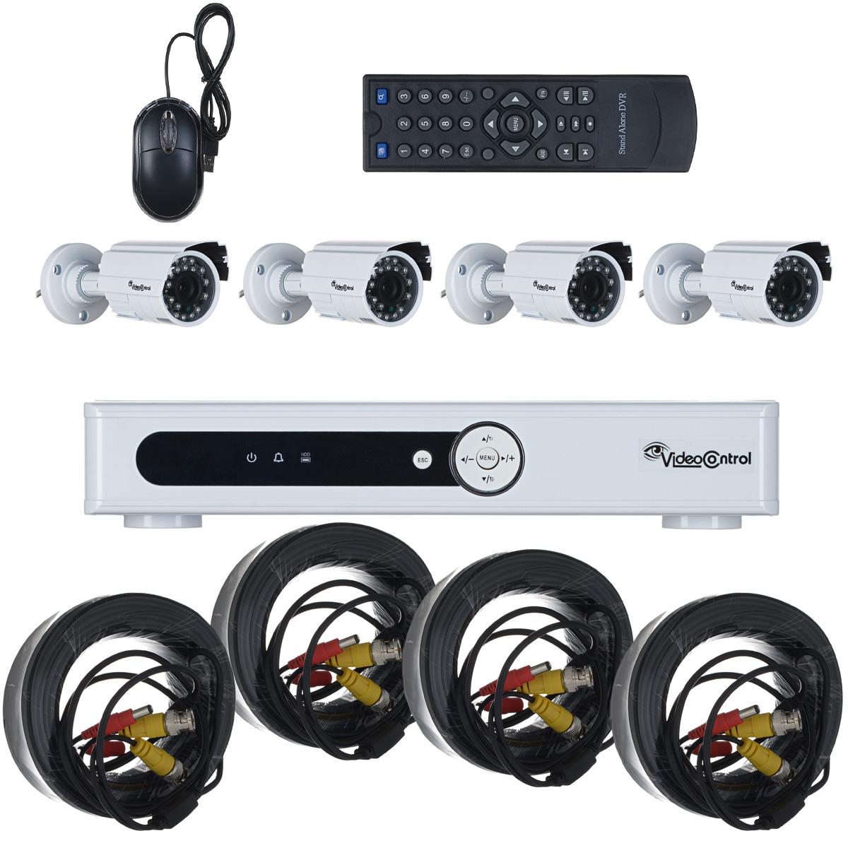 Video Control VC-4SD5A-HD система видеонаблюденияVC-4SD5A-HDКомплект видеонаблюдения Video Control VC-4SD5A-HD - это оптимальное и высококачественное решение для создания системы видеонаблюдения в квартире или загородном доме, офисе или магазине, даче или складе, на улице или в помещении. Изначально комплект видеонаблюдения Video Control был создан таким образом, чтобы установить его мог любой человек за 15 минут и при этом не требовалось бы никаких специальных навыков. Инсталляция системы видеонаблюдения Video Control не сложнее, чем подключение игровой приставки или DVD плеера к телевизору. В одной коробке собрано все, что необходимо, чтобы быстро развернуть качественную систему видеонаблюдения в любом помещении или на улице.Теперь вам не нужно тратиться на монтаж и настройку и при этом вы можете быть уверены в надежной защите вашей квартиры или дачи или любой другой недвижимости. В комплекте VC-4SD5A-HD вы найдете: 4х канальный видеорегистратор высокого разрешения VC-D5AUSB-HD, 4 компактные высококачественные камеры высокого разрешения VC-IR7007CW-HD с инфракрасной подсветкой, мощный стабилизированный блок питания для подключения видеорегистратора и камер силой тока 5А, 4 кабеля длиной 20 метров для подключения камер к регистратору и блоку питания, разветвители питания для камер, крепежные материалы, мышка и пульт ДУ для видеорегистратора, а также инструкция.Стоит обратить внимание, что видеорегистратор Video Control VC-D5AUSB-HD поддерживает воспроизведение и запись изображения в режиме Analog High Definition (AHD) при разрешении 960H, а также, как и камеры видеонаблюдения Video Control VC-IR7007CW-HD, идущие в комплекте, что позволяет вам получить лучшее изображение по сравнению с обычной аналоговой системой при самых минимальных затратах.Блок:Компрессия видео: H.264Формат передачи данных: H.264Операционная система: LinuxСкорость просмотра: 100/120 к/с на каждый видеоканал при максимальном разрешении 960HСкорость записи: 100/120 к/с на каждый видеоканал при раз