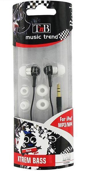TNB Esrock наушникиESROCKМодель наушников французского производства TnB Music Trend Rock (ESROCK) – это усовершенствованная версия предыдущей модели. Звучание отличается чистотой, реалистичностью и четкостью. Наушники Music Trend Rock (ESROCK) оснащены специальной функцией, которая отвечает за подавление внешних шумов. Имеется блок для регулирования громкости звука. В комплекте с моделью предоставляют дополнительные насадки. Наушники TnB Music Trend Rock (ESROCK) идеально подходят для использования их совместно со смартфонами!