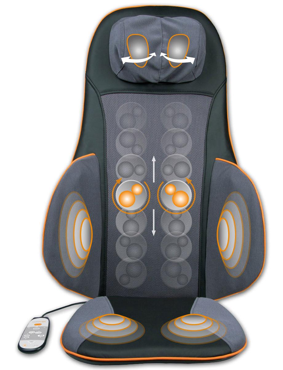 Medisana MC 825 массажная накидка00000729Массажная накидка Medisana MC-825 специально создана для тех, кто проводит долгие часы сидя. Она удобна и для тех, чья производственная деятельность проходит в офисе, за компьютером. В любой ситуации массажные накидки на кресло снизят нагрузку на позвоночник, подарят отдых поясничному отделу, мышцам шеи и плеч.Преимуществом данного варианта конструкции для полноценного отдыха без отрыва от производства становится продуманная система массажного воздействия на те части тела, которые максимально устают во время длительного нахождения в статичной позе. Такая массажная накидка готова работать в удобном для своего владельца режиме.В модели MC-825 предусмотрены несколько режимов, готовых приятно воздействовать на зоны бедер, поясницы, шеи, лопаток. Накидка способна работать на трех режимах интенсивности воздействия. Массаж выполняется отдельно в каждой зоне. Программа позволяет обеспечить приятный отдых сразу во всех точках соприкосновения массажной накидки с телом.Использование устройства возможно буквально в любом месте, где ее можно закрепить. Она удобна на работе, на даче, дома. Это практичное устройство легко мыть. Преимуществом изделия является возможность зафиксировать положение тела ремнями. Конструкция трансформируется. Например, позволяя изменять высоту расположения шейного отдела в зависимости от роста владельца.Автовыключение (15 минут)3 режима интенсивности массажа3 зоны для массажаСъемный чехол шейного блокаУдобный пульт ДУРемни фиксации на кресле
