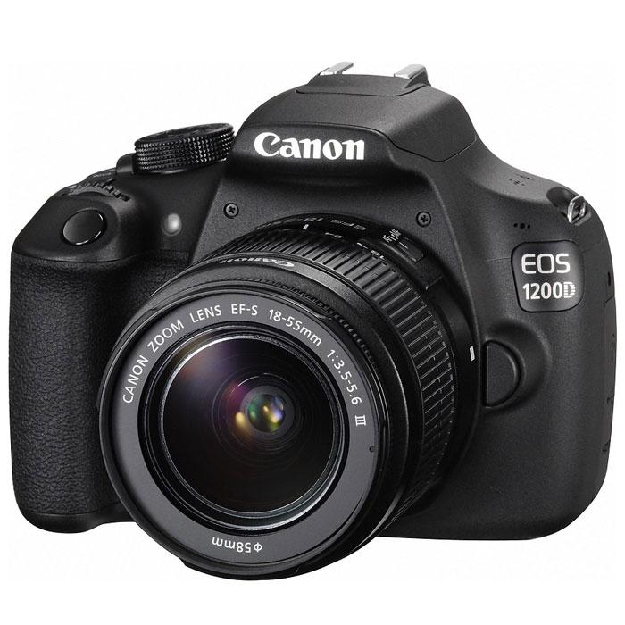 Canon EOS 1200D Kit 18-55 III, Black цифровая зеркальная фотокамера9127B009Цифровая зеркальная фотокамера Canon EOS 1200D выпускается с сопутствующим приложением «Помощник EOS» (EOS Companion) для мобильных устройств. Это приложение содержит обучающие материалы и полезные советы, которые помогут пользователю получить максимальную отдачу от новой камеры. Модель EOS 1200D сочетает в себе передовую систему обработки изображений Canon и удобные, интуитивно понятные элементы управления; кроме того, в камере предусмотрены режимы автоматической съемки, так что даже у новичка легко получится сделать великолепные снимки.Приложение Помощник EOS:С помощью приложения Помощник EOSи удобного руководства для начинающих пользователь сможет быстро освоить управление камерой и ее функции и уверенно начать фотографировать особые моменты своей жизни. Приложение содержит ряд видеоурокови пошаговых упражнений, которые позволяютосвоить основы искусства фотографии в удобном для начинающего фотографа темпе. Раздел «Творчество» построен на использовании таких популярныхдля фотографии тем, как домашние любимцы или портреты людей, в сочетании с полезными инструкциями, например,информацией о скорости съемки или перспективе. В приложение также входит руководство поисправлению ошибок, в котором можно найти советы о том, как улучшить фотоснимки и устранить наиболее распространенные проблемы, например нечеткость или переэкспонирование изображений, а также подсказки по построению композиции при съемке групп людей и пейзажей.Изображения с высокой степенью детализации:Пользуясь камерой Canon EOS 1200D, вы получаете яркие, восхитительные изображения, которые сохранят ваши воспоминания во всех подробностях в течение многих лет. Красочные высококачественные фотографии, идеальные для крупноформатной печати создаются с помощью 18-мегапиксельного датчика изображения CMOS формата APS-C и процессора DIGIC 4 от Canon. Благодаря впечатляющим способностям камеры вести съемку в условиях слабого освещения, можно п