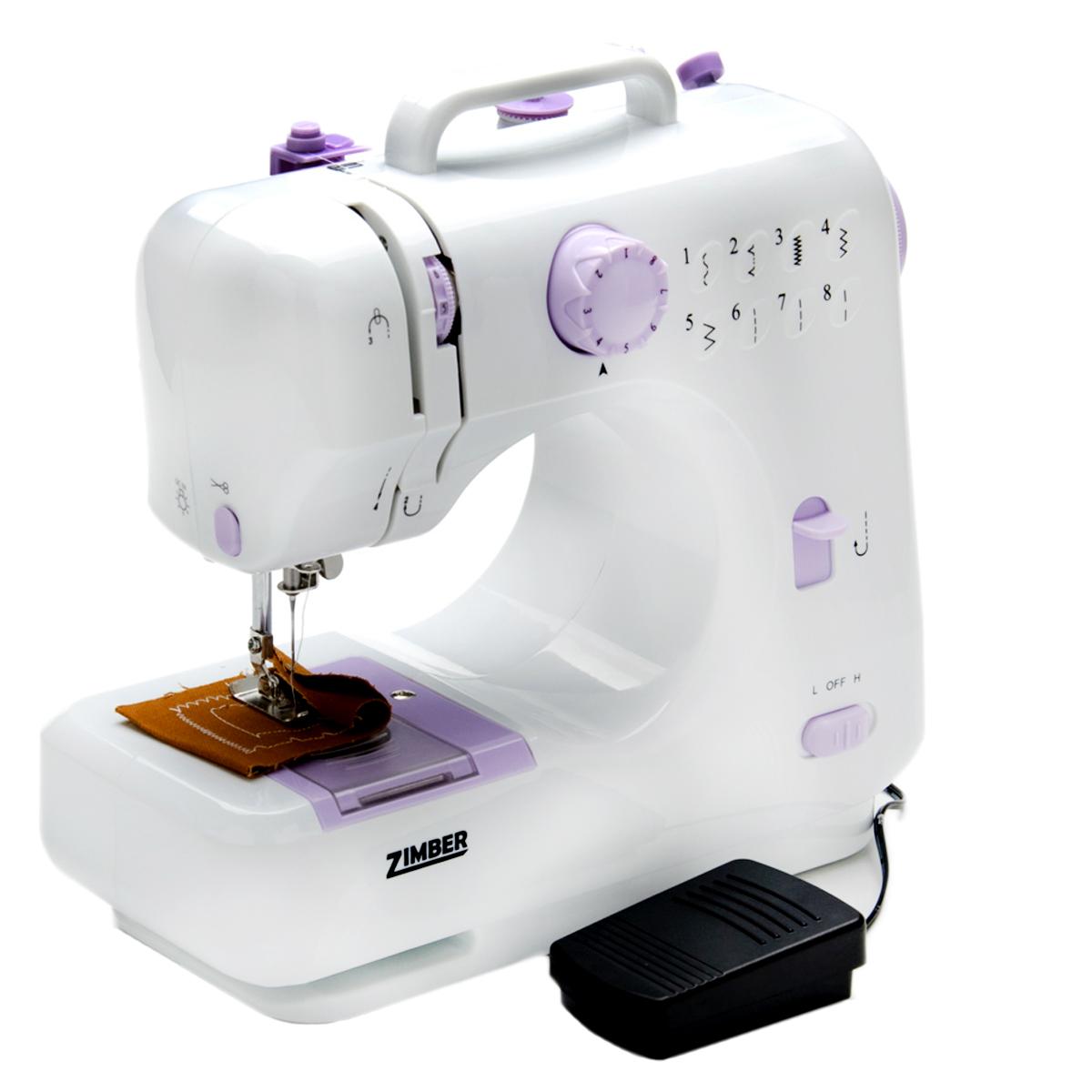 Zimber ZM-10935 швейная машинкаZM-10935Zimber ZM-10935 - очень удобная в использовании машинка имеющая в себе 8 различных видов стежка, которые указаны на диаграмме. Модель работает со всеми видами тканей, в том числе джинсы и кожа. Швейные машины серии Zimber компактны и просты в использовании. Широкий выбор строчек «зиг-заг» позволяет обрабатывать трикотажные и прочие эластичные ткани. Швейная машина оснащена 2 скоростями, проста в использовании, имеет необходимый набор рабочих операций.