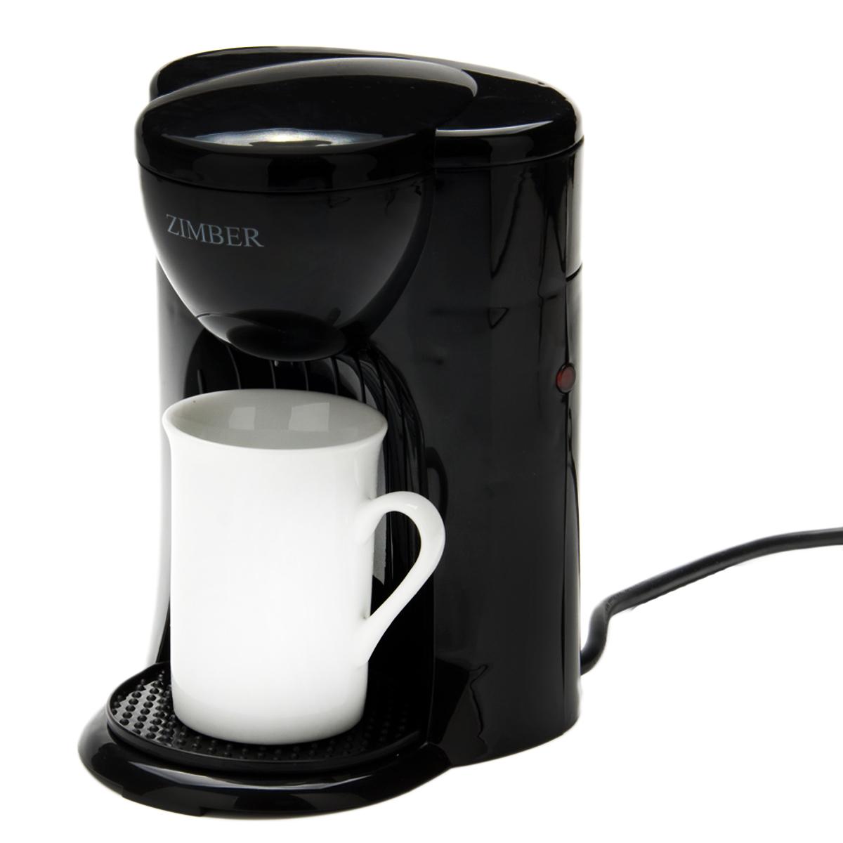 Zimber ZM-11011 кофеваркаZM-11011Кофеварка Zimber ZM-11011 представляет собой современный аппарат, сочетающий в себе компактность, функциональность и практичность. Модель мощностью 330 Вт позволяет приготовить чашку вашего любимого напитка нажатием буквально одной кнопки. Кофе варится под высоким давлением в 15 бар, тем самым извлекается максимум вкуса и аромата из кофейных зерен. Кофеварка изготовлена из высококачественного полипропилена, устойчивого к высоким температурам и влажности. Оснащена индикатором включения/выключения. В комплекте поставляются 1 керамическая кружка емкостью 125 мл. Благодаря стильному дизайну Zimber ZM-11011 впишется в любую современную кухню.