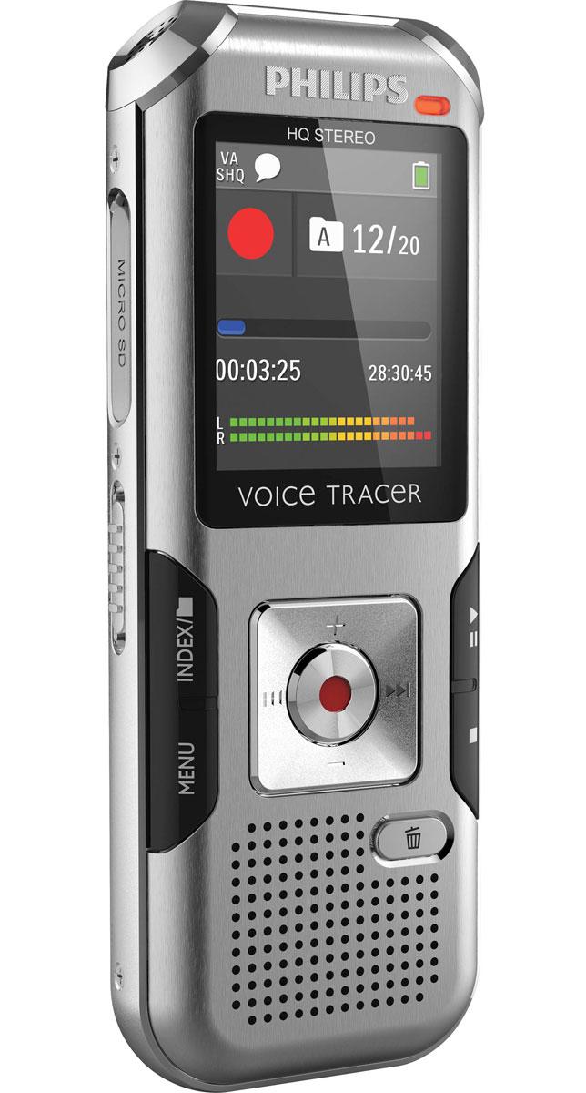 Philips DVT4000 диктофонDVT4000Philips DVT4000 - цифровой диктофон прочном и легком корпусе. Благодаря подобной конструкции устройство защищено металлической поверхностью корпуса и является удобным в обращении.Функция AutoAdjust+Запись речи в различных условиях часто представляет собой трудную задачу. AutoAdjust+ является инновационным интеллектуальным алгоритмом записи, который анализирует и автоматически регулирует параметры входящих сигналов, выбирая идеальные настройки для каждой конкретной ситуации, в которой производится запись. При этом производится выбор и регулировка соответствующих параметров звучания, таких как чувствительность микрофона, шумовой фильтр, подавление шумов и правый и левый каналы записи.Высококачественный микрофонОба высококачественных стереомикрофона обеспечивают кристально чистое звучание. Более высокий уровень чувствительности записи обеспечивает более сильный сигнал без ущерба для качества воспроизведения звука. Таким образом, Вам удается получить высококачественную запись речи даже в шумной среде.Большой цветной дисплей обеспечивает высокую четкость изображений, благодаря чему у Вас есть полный обзор всех процессов. Наглядный пользовательский интерфейс поддерживает восемь языков и обеспечивает простое интуитивное управление. Записывайте в формате MP3. Файлы, записанные в данном распространенном формате, можно практически везде воспроизводить и передавать на другие устройства.Автоматическое конфигурирование (PnP)Благодаря автоматическому конфигурированию (PnP) в операционной системе Windows, Mac OS и Linux Вы имеете легкий доступ к Вашим записям без необходимости установки дополнительного программного обеспечения. При подключении диктофона к компьютеру с помощью кабеля USB компьютер автоматически распознает его как сменный носитель данных. В дополнение, с помощью данного устройства Вы можете сохранять, резервировать и пересылать файлы.Чрезвычайно длительное время автономной работы аккумулятораВысокопроизводительный литий-полимерный акку