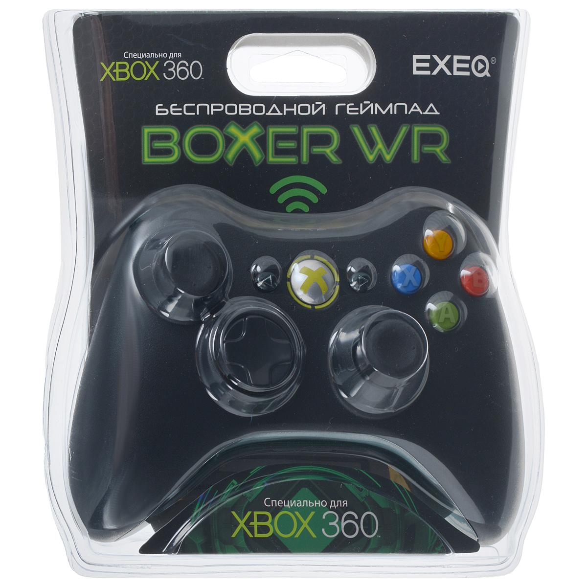 EXEQ Boxer WR беспроводной геймпад для Xbox 360eq-360-02130Беспроводной геймпад EXEQ Boxer WR предназначен для использования с игровой консолью Xbox360 от компании Microsoft. Классическая форма и специальное покрытие «Grip Surface» обеспечат комфорт и снизят усталость рук во время игры. Обратная связь и эффект двойной вибрации придадут реалистичности и создадут множество приятных ощущений от игры. 2 аналоговых джойстика адаптированы для игр с высокой интенсивностью движений и изготовлены из специального материала «Soft Rubber», предотвращающего соскальзывание пальцев во время продолжительного вращения.