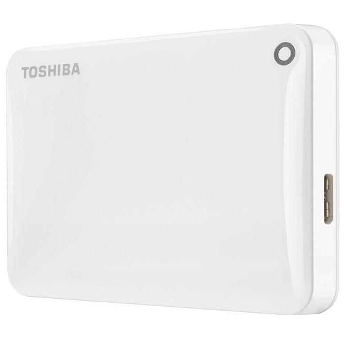 Toshiba Canvio Connect II 1TB, White внешний жесткий диск (HDTC810EW3AA)HDTC810EW3AAToshiba Canvio Connect II дает вам возможность быстро передавать файлы с интерфейсом USB 3.0 и хранить до 3 ТБ данных на внешнем жестком диске. Устройство полностью готово для работы с Microsoft Windows и не требует установки программного обеспечения, так что ничего не может быть удобнее для хранения всех ваших любимых файлов. В офисе или в дороге его классический дизайн будет всегда уместен. Более того, Toshiba Canvio Connect II позволяет подключаться также и к оборудованию с совместимостью USB 2.0.Этот внешний накопитель обеспечивает доступ к вашим файлам практически из любого места и с любого устройства. Toshiba Canvio Connect II может легко превратить ваш компьютер в облачный сервер благодаря предустановленному ПО для удаленного доступа (накопитель должен быть подключен к компьютеру и Wi-Fi). Помимо удаленного доступа это устройство предоставляет своему владельцу 10 ГБ дополнительного места в облачном сервисе. Программное обеспечение NTI Backup Now EZ обеспечивает удобное и надежное создание резервных копий и восстановление всех ваших папок, файлов и операционной системы.Canvio Connect II оборудован датчиком ударов, сигнал которого переводит головку жесткого диска в безопасное положение, за счет чего снижается риск повреждения носителя и потери данных при падении накопителя. Накопитель имеет уже установленный драйвер NTFS для Mac, поэтому вам не придется волноваться из-за типа вашего компьютера - просто подключите Canvio Connect II и получите доступ к вашим файлам.