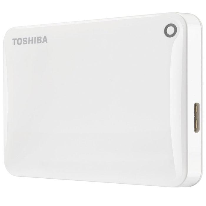 Toshiba Canvio Connect II 500GB, White внешний жесткий диск (HDTC805EW3AA)HDTC805EW3AAToshiba Canvio Connect II дает вам возможность быстро передавать файлы с интерфейсом USB 3.0 и хранить до 3 ТБ данных на внешнем жестком диске. Устройство полностью готово для работы с Microsoft Windows и не требует установки программного обеспечения, так что ничего не может быть удобнее для хранения всех ваших любимых файлов. В офисе или в дороге его классический дизайн будет всегда уместен. Более того, Toshiba Canvio Connect II позволяет подключаться также и к оборудованию с совместимостью USB 2.0.Этот внешний накопитель обеспечивает доступ к вашим файлам практически из любого места и с любого устройства. Toshiba Canvio Connect II может легко превратить ваш компьютер в облачный сервер благодаря предустановленному ПО для удаленного доступа (накопитель должен быть подключен к компьютеру и Wi-Fi). Помимо удаленного доступа это устройство предоставляет своему владельцу 10 ГБ дополнительного места в облачном сервисе. Программное обеспечение NTI Backup Now EZ обеспечивает удобное и надежное создание резервных копий и восстановление всех ваших папок, файлов и операционной системы.Canvio Connect II оборудован датчиком ударов, сигнал которого переводит головку жесткого диска в безопасное положение, за счет чего снижается риск повреждения носителя и потери данных при падении накопителя. Накопитель имеет уже установленный драйвер NTFS для Mac, поэтому вам не придется волноваться из-за типа вашего компьютера - просто подключите Canvio Connect II и получите доступ к вашим файлам.
