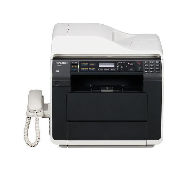 Panasonic KX-MB2230RU МФУKX-MB2230RUФункциональное и мощное МФУ Panasonic KX-MB2270RU создано дляофиса! Устройство имеет компактные размеры и не занимает много места однако служит заменой целого ряда устройств. Оно одновременносочетает в себе функции копировального аппарата, сканера, факса,принтера и телефона. Данная модель поддерживает также интерфейсыUSB и Wi-Fi. МФУ Panasonic KX-MB2270RU обладает высокой скоростьюпечати – 28 страниц в минуту и довольно простым управлением свыводом информации на ЖК-дисплей. Устройство также оснащеноавтоматическим предупреждением о необходимости замены картриджа тонера.