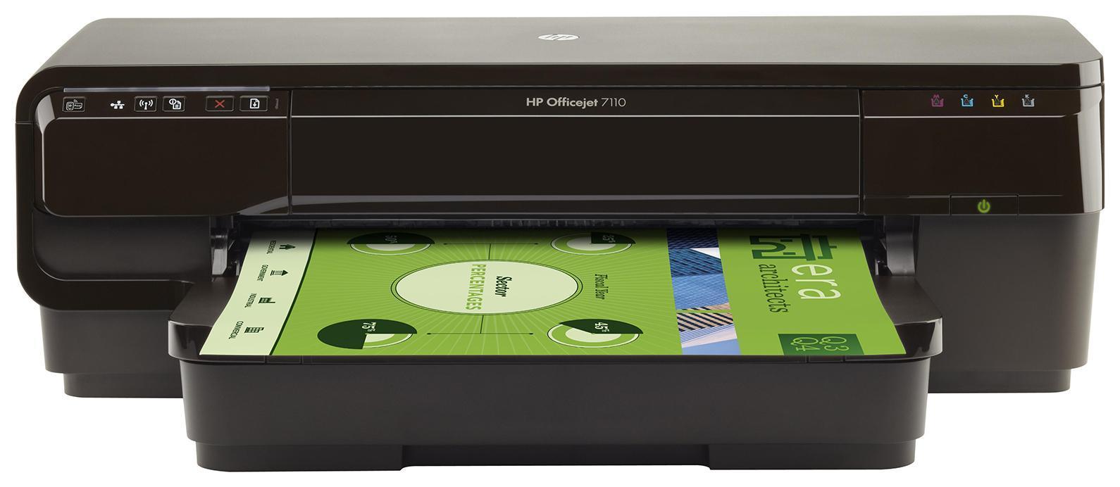 HP Officejet 7110 (H812a) струйныйпринтерCR768AСделайте больше собственными силами благодаря доступному, надежному принтеру HP ePrinter. Создавайте маркетинговые материалы профессионального качества размерами от почтовых открыток до A3+. Возможность совместной работы с помощью беспроводной сети 1 и возможность печати практически из любого места. 2
