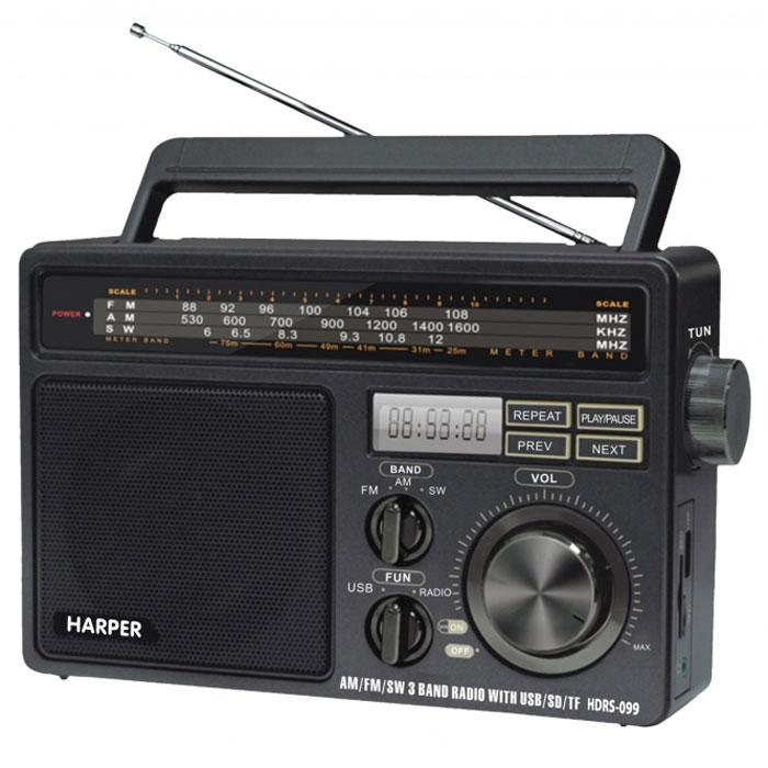 Harper HDRS-099 портативный радиоприемникHDRS-099Harper HDRS-099 - портативный радиоприемник, работающих в диапазонах AM (530-1600 КГц), FM (88-108 МГц) и SW (6-12 МГц). Вся необходимая информация отображается на встроенном монохромном дисплее. Вы также можете осуществлять проигрывание музыки с внешних источников, благодаря порту USB и слоту для карт памяти SD.Тип элементов питания: 4.5 В (UM-1)Максимальная выходная мощность: 1300 мВтМаксимальная потребляемая мощность: 3 Вт