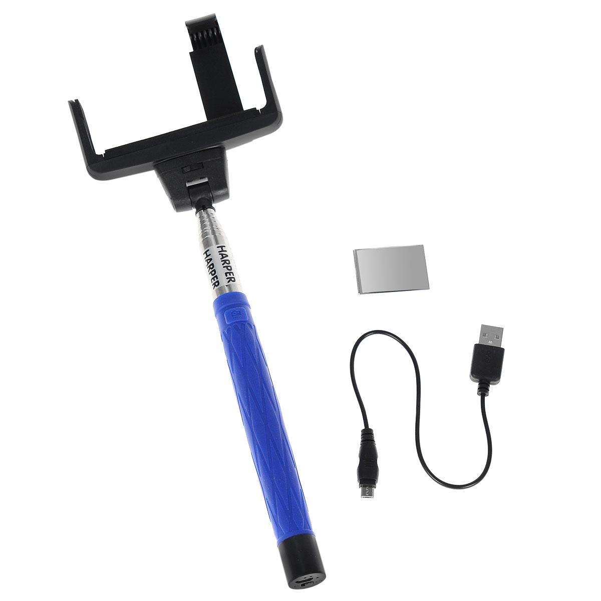 Harper RSB-104, Blue монопод для селфиRSB-104 BlueHarper RSB-104 - телескопический монопод для проведения фото и видеосъемки с максимальной нагрузкой 500 грамм. Поддержка беспроводного соединения Bluetooth 3.0 позволяет осуществлять съемку без использования кабеля. Данная модель имеет встроенный аккумулятор на 45 мАч, что обеспечивает до 100 часов автономной работы.Емкость батареи: 45 мАчВремя зарядки: 1 часВремя работы аккумулятора: 100 часовМатериал: нержавеющая сталь