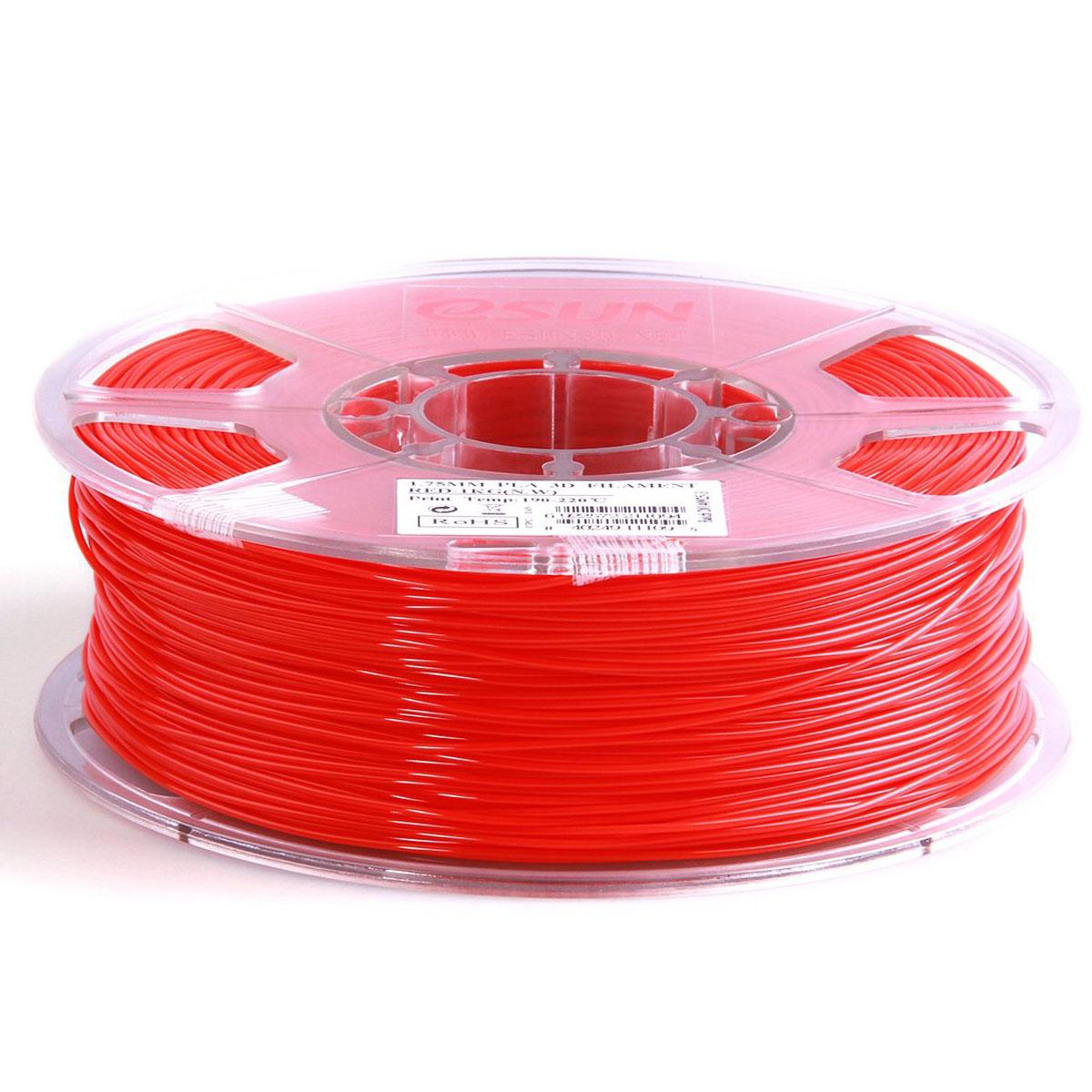 ESUN пластик PLA в катушке, Red, 1,75 ммPLA175R1Пластик PLA от ESUN долговечный и очень прочный полимер, ударопрочный, эластичный и стойкий к моющим средствам и щелочам. Один из лучших материалов для печати на 3D принтере. Пластик не имеет запаха и не является токсичным. Температура плавления190-220°C. PLA пластик для 3D-принтера применяется в деталях автомобилей, канцелярских изделиях, корпусах бытовой техники, мебели, сантехники, а также в производстве игрушек, сувениров, спортивного инвентаря, деталей оружия, медицинского оборудования и прочего.Диаметр нити: 1.75 мм
