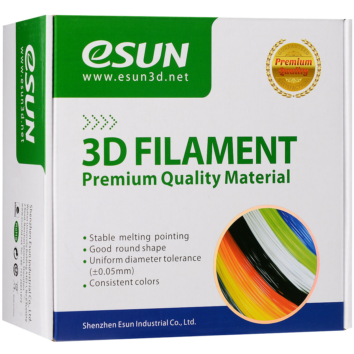 ESUN пластик ABS в катушке, White, 1,75 ммABS175W1Пластик ABS от ESUN долговечный и очень прочный полимер, ударопрочный, эластичный и стойкий к моющим средствам и щелочам. Один из лучших материалов для печати на 3D принтере. Пластик ABS не имеет запаха и не является токсичным. Температура плавления220-260°C. АБС пластик для 3D-принтера применяется в деталях автомобилей, канцелярских изделиях, корпусах бытовой техники, мебели, сантехники, а также в производстве игрушек, сувениров, спортивного инвентаря, деталей оружия, медицинского оборудования и прочего.Диаметр пластиковой нити: 1.75 мм