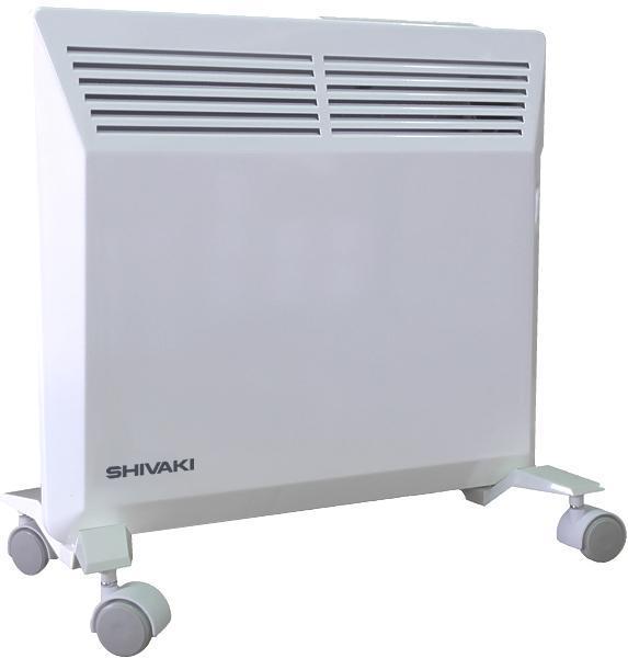Shivaki SHIF-EC102W конвекционный обогревательSHIF-EC102WБытовой электрический обогреватель конвекционного типа SHIVAKI SHIF-EC102W поможет Вам решить задачи по созданию уютного и комфортного тепла в Вашем доме. Принцип идеально правильной конвекции, используемый в электрообогревателе, позволяет быстро обогреть помещение площадьюдо 15 кв.м. При работе обогреватель не сжигает пыль и кислород, не сушит воздух, на 100% пожаробезопасен, т.к. снабжен системой безопасности – защитой от перегрева и датчиком защиты от опрокидывания. Использование в электрообогревателях усовершенствованного Х-образного нагревательного элемента гарантирует бесшумную работу. Данная модель обогревателя пригодна как для напольной установки, так и для настенного монтажа. Кронштейн и колесики входят в комплект.