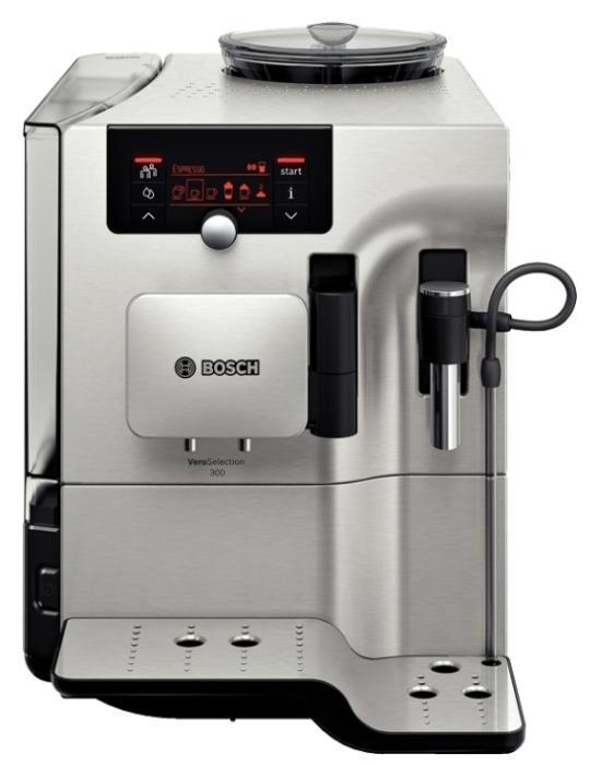 Bosch TES80329RW VeroSelection кофемашинаTES80329RWИнновационный проточный нагреватель Intelligent Heater inside: правильная температура заваривания кофе и полноценный аромат благодаря технологии SensoFlowSystemБольшой выбор напитков и комфорт при приготовлении. Функция OneTouch для приготовления кофейных напитков одним нажатием кнопки и PersonalCoffee Pro для сохранения индивидуальных настроек.Функция AromaDoubleShot: приготовление эспрессо двойной крепости без горечиНизкий уровень шума при работе кофемашины BoschCreamCleaner – промыв системы подачи молока нажатием одной кнопки.