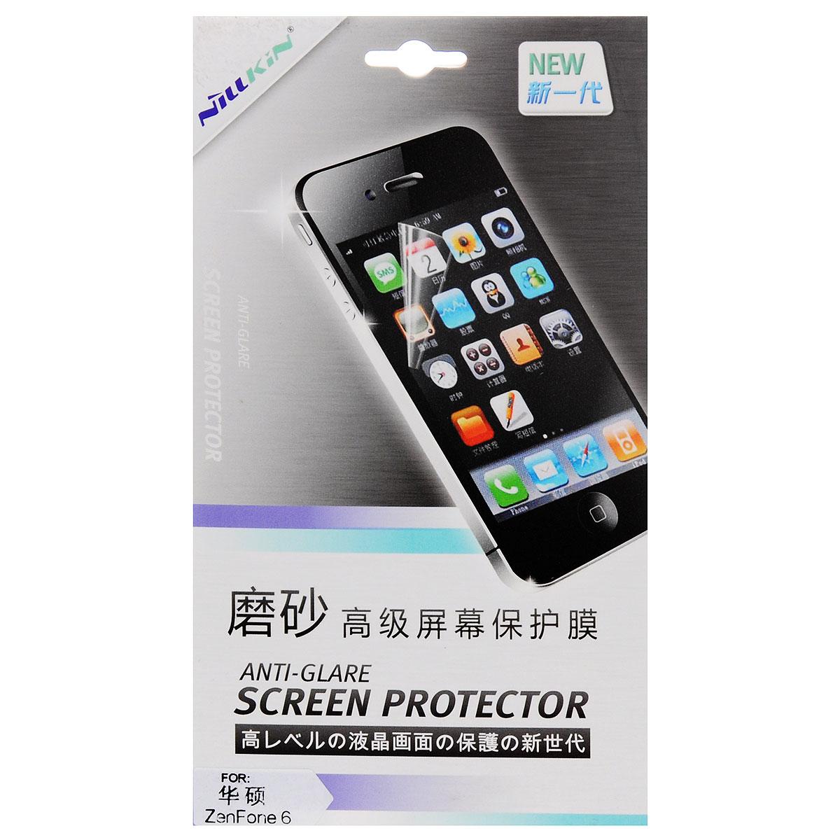 Nillkin Screen Protector защитная пленка для Asus ZenFone 6, матоваяSP-058Защитная пленка Nillkin Screen Protector для Asus ZenFone 6 сохраняет экран смартфона гладким и предотвращает появление на нем царапин и потертостей. Структура пленки позволяет ей плотно удерживаться без помощи клеевых составов. Пленка практически незаметна на экране смартфона и сохраняет все характеристики цветопередачи и чувствительности сенсора.