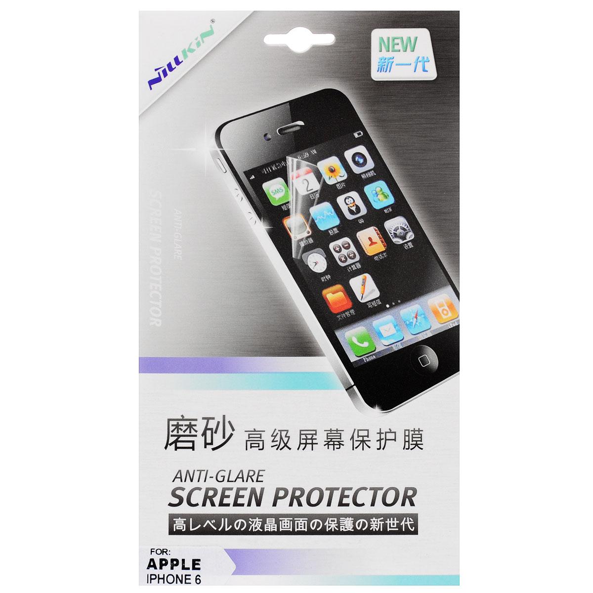 Nillkin Screen Protector защитная пленка для Apple iPhone 6, матоваяSP-062Защитная пленка Nillkin Screen Protector для Apple iPhone 6 сохраняет экран гладким и предотвращает появление на нем царапин и потертостей. Структура пленки позволяет ей плотно удерживаться без помощи клеевых составов. Пленка практически незаметна на экране устройства и сохраняет все характеристики цветопередачи и чувствительности сенсора.