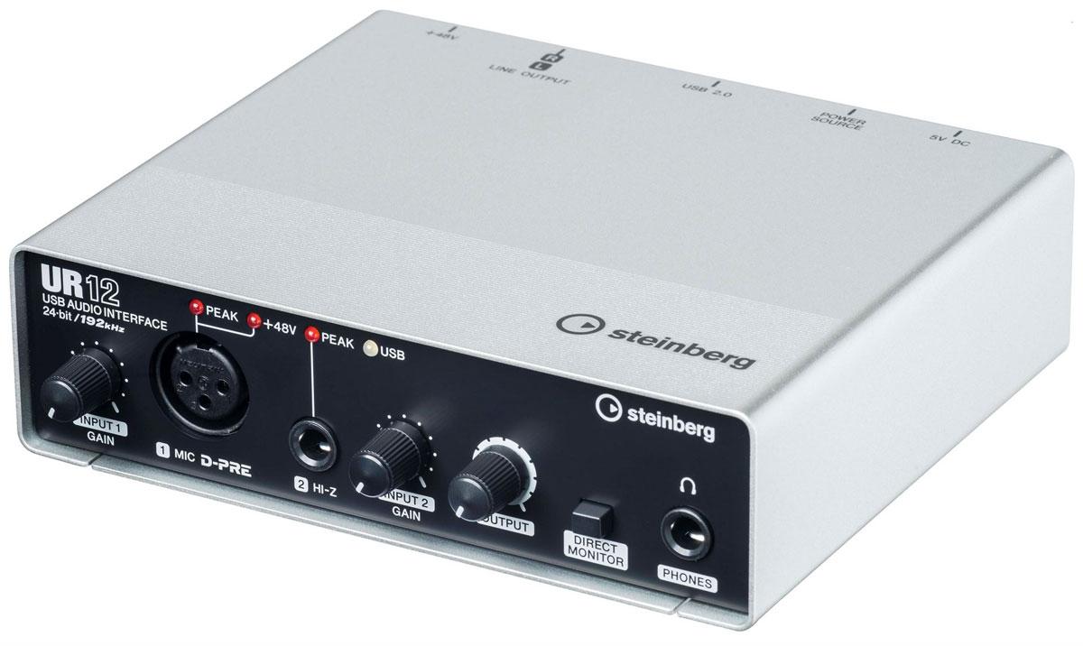 Steinberg UR12, Black Silver аудио интерфейсUR12Продвинутый аудио-интерфейс Steinberg UR12 в компактном и прочном металлическом корпусе с максимальным режимом работы 24 бит/192 кГц. Данная модель имеет дискретный микрофонный предусилитель Yamaha D-PRE с поддержкой фантомного питания +48 В. Устройство также оснащено различными интерфейсами и разъемами, а именно - микрофонным XLR-входом, Hi-Z инструментальным TRS-входом, а также линейным стереофоническим выходом 2 x RCA и разъёмом джек для подключения наушников. Steinberg UR12 позволяет производить аппаратный мониторинг сигнала с нулевой задержкой. В наличие поддержка операционных систем Windows, Mac OS и iOS. Имеется возможность работы с iPad через переходник Camera Connection Kit или Lightning to USB Camera Adapter.Поддержка режимов до 24-бит/192 кГцПрочный цельнометаллический корпус Микрофонный вход MIC D-PRE (балансный, XLR):Максимальный уровень входа +0 dBu Входной импеданс 4 кОм Диапазон усиления +10 дБ ... +54 дБ Гитарный вход HI-Z (небалансный, TRS):Максимальный уровень входа +8.5 dBV Диапазон усиления +/-0 dB ... +40 dBЛинейный выход MAIN OUTPUT (небалансный, RCA) Максимальный уровень входа +6 dBV Выходной импеданс 600 ОмВыход на наушники PHONES 1/2 Максимальный уровень входа 6 мВт + 6 мВт при 40 ОмСистемные требования:Двухъядерный процессор Intel или AMDОЗУ: 2 ГБМесто на диске: 4 ГБРазрешение экрана: 1280 x 800ОС: WindowsXP/Vista/7/8/8.1; Mac OS X 10.7/10.8/10.9/10.10; iOS 6 или вышеДля установки и активации ПО Cubase AI требуется интернет-соединение