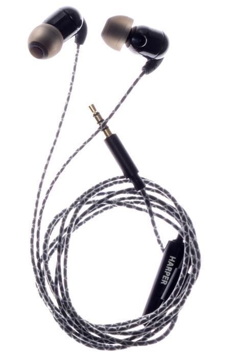 Harper HV-801 наушникиHV-801HARPER представляет керамические наушники HV-801, в которых неодимовые микродинамики помещены в керамический корпус для обеспечения высокого качества звучания. Провод этих наушников заключен в специальную оплетку, что не дает ему спутываться во время использования. - Кабель длиной 1,2 метра идеально подходит для использования на улице- Встроенный пульт и микрофон для быстрого переключения между музыкой и вызовами- Мягкие силиконовые накладки 3 размеров для максимального комфорта- Имеется клипса для фиксации провода на одежде.