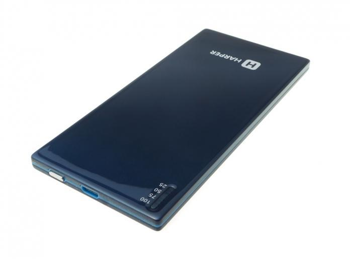Harper PB-2003, Blue внешний аккумуляторPB-2003 blueУникальность модели заключается в сочетании компактных размерах и довольно большой емкости батареи аккумулятора. Толщина аккумулятора составляет всего 4,5 миллиметра. Он не займет много места в кармане пиджака или сумке. Объем заряда 3500 мАч. Такого запаса энергии достаточно не только для того чтобы полностью зарядить батарею большинства популярных среди пользователей смартфонов, но и на восстановление элементов питания планшета. Те, кто часто ездит в командировки или путешествуют, знают о том, как важно бывает оставаться на связи вне офиса.