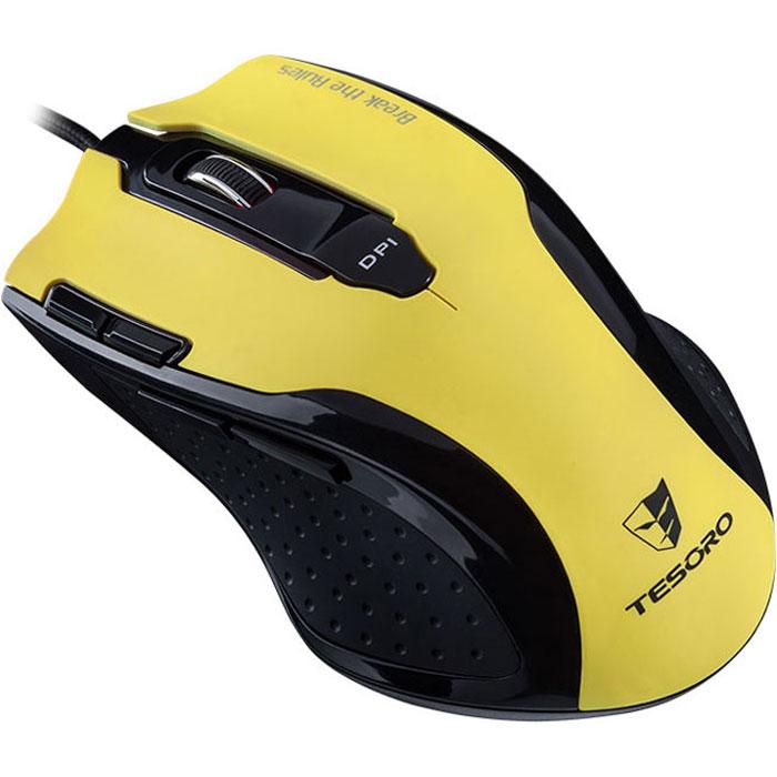 Tesoro Shrike TS-H2L, Yellow игровая мышь0799430373456Игровая мышь Tesoro Shrike TS-H2L оборудована продвинутым лазерным сенсором разрешением 5600 DPI, что позволяет игроку осуществлять точнейший контроль в RTS и RPG. Гибкая система настройки разрешения и возможность его регулировки на лету откроют перед вами новые горизонты! Удобная форма и резиновые вставки по бокам позволят играть долго и напряженно, а система регулировки веса поможет точно настроить мышь под себя.5 режимов переключения DPI: 800/1600/3200/4800/5600До 8 макросов может быть сохранено в каждом из 5 профилей128 Кб встроенной памятиРегулируемая частота опроса до 1000 ГцЭргономичный корпус с резиновыми вставками по бокамДополнительные грузики: 3x10 г, 1x5 гОтрегулируйте вес мыши в пределах 35 граммов