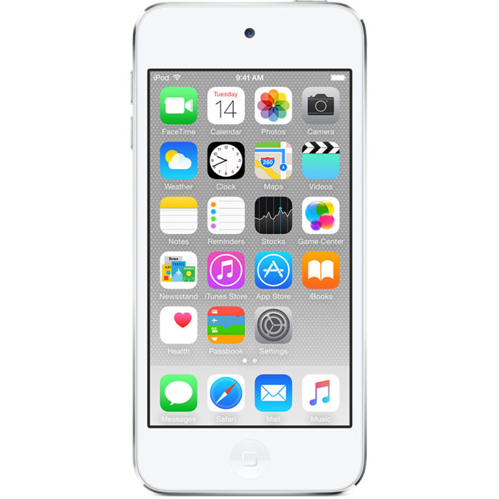 Apple iPod Touch 6G 32GB, White Silver mp-3 плеерMKHX2RU/AApple iPod Touch 6G - это отличный способ уместить всю медиатеку в кармане. iTunes Store, самый большой в мире каталог музыки, наполнит ваш iPod touch любимыми песнями. iCloud обеспечит автоматический доступ ко всем вашим покупкам со всех ваших Apple-устройств - совершенно бесплатно. А сервис Apple Music, доступный прямо в приложении Музыка, произведет сильное впечатление. В Apple iPod Touch 6G встроен 64-битный процессор A8 уровня настольных компьютеров, разработанный Apple. Благодаря ему производительность увеличилась до шести раз по сравнению с моделью предыдущего поколения, а скорость графики выросла до 10 раз - теперь ваши любимые игры работают быстрее и выглядят ещё реалистичнее, чем прежде. Время работы от аккумулятора не изменилось - до 40 часов воспроизведения музыки и до 8 часов воспроизведения видео.Сопроцессор движения M8 постоянно измеряет данные ваших движений, используя передовые датчики, в том числе гироскоп и акселерометр. Выполняя эти задачи, M8 разгружает процессор и повышает эффективность работы устройства. Кроме того, он предоставляет точные фитнес-данные, например количество шагов или дистанцию, для приложения Здоровье. Metal - новая технология, позволяющая разработчикам создавать игры консольного уровня с высокой степенью погружения - была создана для достижения оптимальной графической производительности процессора A8 и системы iOS 8. Metal оптимизирует работу графического и центрального процессоров и позволяет добиться детальной графики и сложных визуальных эффектов. Любой игровой мир будет выглядеть как настоящий. В Apple iPod Touch 6G оснащен 4-дюймовым дисплеем Retina с разрешением 1136 х 640 точек, так что все ваши развлечения будут смотреться неотразимо. Резкие повороты в гоночных симуляторах, плейлист для вечеринки, фотографии друзей - все выглядит четко, ярко и реалистично. А еще этот дисплей идеально подходит для широкоэкранных HD - фильмов и телепередач.Теперь ваши фотографии 