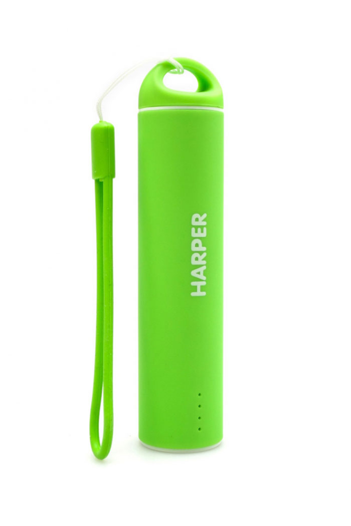 Harper PB-2602, Green внешний аккумуляторPB-2602 GreenБудь легким и ярким!Для молодых и энергичных представлен большой выбор вариантов дизайна и ярких цветов для активной жизни.Компактные размеры Harper PB-2602 позволяют без труда носить его как оригинальный аксессуар на сумке или рюкзаке. Размеры аккумулятора существенно меньше размеров стандартного смартфона. При этом, аккумулятор способен полностью зарядить мобильный телефон или смартфон.