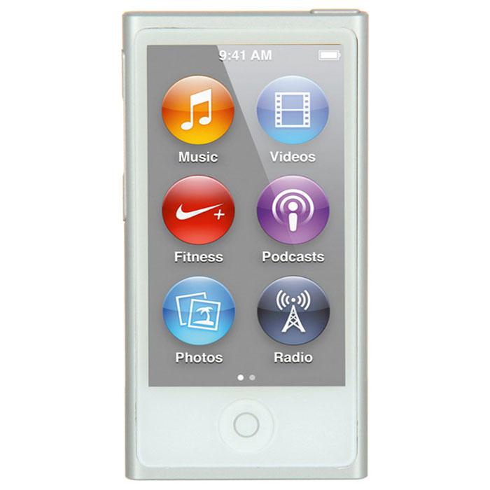 Apple iPod nano 16 GB (7 Gen), White Silver MP3-плеерMKN22RU/AApple iPod nano 16 GB (7 Gen) - самый тонкий iPod. Его толщина всего 5,4 мм, а размер сравним с размером кредитной карты. 2,5-дюймовый дисплей Multi-Touch почти в два раза больше дисплея предыдущего iPod nano, так что на экране будет еще больше музыки, фотографий и видео. Кнопки позволяют легко управлять воспроизведением и громкостью. Новый корпус из анодированного алюминия выглядит утонченно и элегантно. И, конечно, iPod nano неизменно радует разнообразием своих цветов - ярких и абсолютно неотразимых.Задаем ритм:Просто прикоснитесь, чтобы включить вашу любимую песню. Или целый альбом. Или все композиции одного исполнителя. Вы можете просматривать медиатеку по жанрам или композиторам. Полистайте всю коллекцию музыки - обложки альбомов на увеличенном экране выглядят просто великолепно. Или просто встряхните iPod nano - и он перейдет к случайной песне из вашей медиатеки.Видео. Маленький большой экран:Теперь вы можете смотреть бесплатные подкасты и домашнее видео на широкоэкранном 2,5-дюймовом Multi-Touch дисплее iPod nano. Коснитесь для воспроизведения, перемотки вперед/назад и паузы. С iPod nano вы всегда и везде сможете развлечься.Технология Bluetooth:Теперь слушать музыку будет еще удобнее - потому что iPod nano оснащен встроенной технологией Bluetooth 4.0. Это значит, что к нему можно легко подключать беспроводные наушники, динамики и автомобильные аудиосистемы, поддерживающие технологию Bluetooth. Когда нет проводов, вы чувствуете себя гораздо свободнее. Вам, например, не придется тратить время на распутывание наушников. А если ваша автомобильная аудиосистема поддерживает Bluetooth, то как только вы сядете за руль, Ваш iPod nano сможет начать воспроизведение с того места, на котором вы остановилисьРадио:FM-радио на iPod nano будет держать вас в курсе событий. Футбольные матчи, истории о знаменитостях, любимые ток-шоу - слушайте все, что хотите. Просто подключите наушники и коснитесь дисплея - на нем по