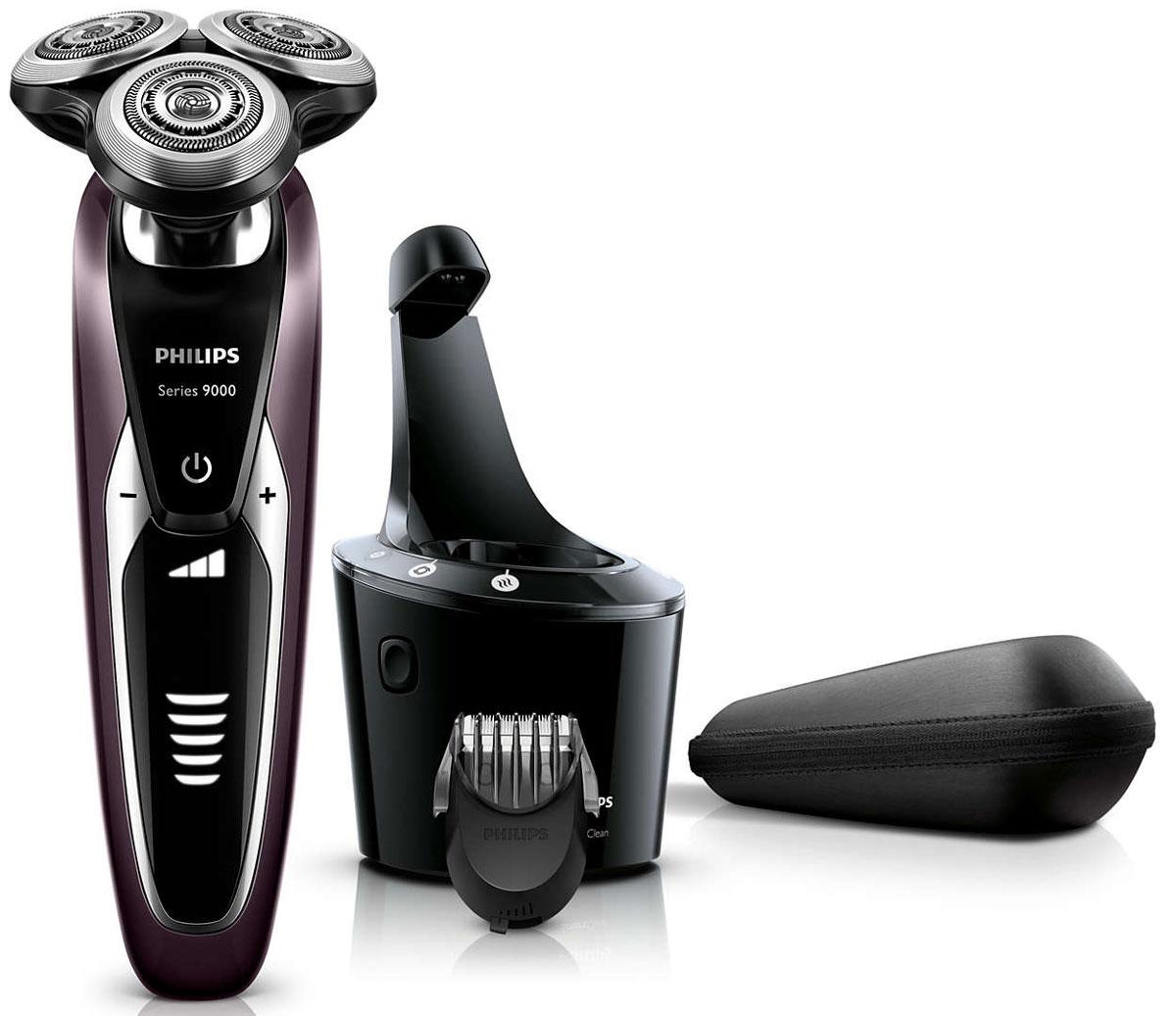 Philips S9521/31 электробритваS9521/31Запатентованные лезвия V-Track Precision электробритвы Philips S9521/31аккуратно захватывают и направляют волоски любой длины, а также волоски, прилегающие к коже. Обеспечивает на 30 % более гладкое и быстрое бритье, чтобы ваша кожа всегда выглядела безупречно. Новые гибкие головки вращаются в 8 направлениях, максимально точно повторяя контуры лица и требуя меньше усилий при каждом движении. Головки, двигающиеся независимо от бритвенного элемента, захватывают на 20 % больше волосков и обеспечивают более чистое бритье при меньшем количестве движений.Встроенная система двойных лезвий электрической бритвы Philips S9521/31 приподнимает волоски, сбривая их максимально близко к поверхности кожи, что обеспечивает более чистое бритье. Настройки для комфортного бритья позволяют задать ваши личные предпочтения. Вы можете выбрать один из 3 режимов: бережный для аккуратного и тщательного бритья чувствительной кожи, обычный для тщательного бритья изо дня в день и быстрый, который позволит вам максимально сократить время процедурыУплотнение AquaTec электробритвы позволяет выбирать наиболее комфортный способ бритья: сухое бритье или освежающее влажное бритье с использованием геля или пены для бритья. SmartClean PLUS позволяет очищать, смазывать, сушить и заряжать бритву одним нажатием кнопки, что обеспечивает ее оптимальную работу день за днем.Безопасная насадка-стайлер для бороды позволяет создавать самые разнообразные стили: от трехдневной щетины (0,5 мм) до короткой бороды (5 мм). Закругленные края и регулируемый гребень предотвращают раздражение кожи. На интуитивно понятном дисплее отображается вся необходимая информация, что позволяет в полной мере использовать все возможности вашей бритвы: пятиуровневый индикатор аккумулятора, индикатор очистки, индикатор низкого заряда аккумулятора, индикатор сменной головки, индикатор дорожной блокировкиПередовая технология зарядки обеспечивает два удобных режима: 50 минут работы после зарядки в течени