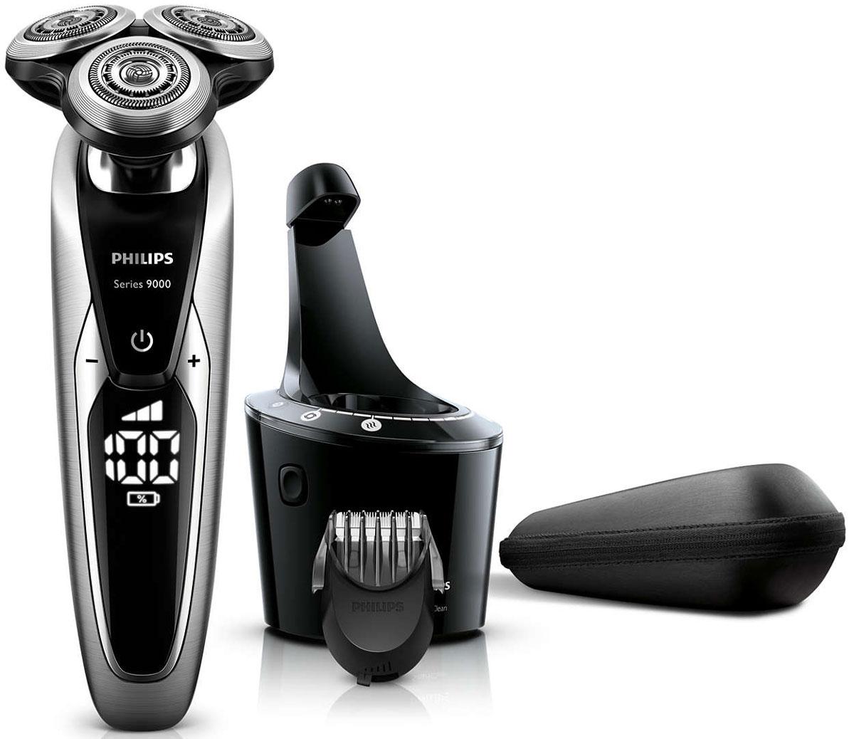 Philips S9711/31 электробритваS9711/31Запатентованные лезвия V-Track Precision электробритвы Philips S9711/31 аккуратно захватывают и направляют волоски любой длины, а также волоски, прилегающие к коже. Обеспечивает на 30 % более гладкое и быстрое бритье, чтобы ваша кожа всегда выглядела безупречно. Новые гибкие головки вращаются в 8 направлениях, максимально точно повторяя контуры лица и требуя меньше усилий при каждом движении. Головки, двигающиеся независимо от бритвенного элемента, захватывают на 20 % больше волосков и обеспечивают более чистое бритье при меньшем количестве движений.Встроенная система двойных лезвий электрической бритвы Philips S9711/31 приподнимает волоски, сбривая их максимально близко к поверхности кожи, что обеспечивает более чистое бритье. Настройки для комфортного бритья позволяют задать ваши личные предпочтения. Вы можете выбрать один из 3 режимов: бережный для аккуратного и тщательного бритья чувствительной кожи, обычный для тщательного бритья изо дня в день и быстрый, который позволит вам максимально сократить время процедурыУплотнение AquaTec электробритвы позволяет выбирать наиболее комфортный способ бритья: сухое бритье или освежающее влажное бритье с использованием геля или пены для бритья. SmartClean PRO позволяет очищать, смазывать, сушить и заряжать бритву одним нажатием кнопки, что обеспечивает ее оптимальную работу день за днем. Улучшенный пользовательский интерфейс отображает каждый этап цикла SmartClean.Безопасная насадка-стайлер для бороды позволяет создавать самые разнообразные стили: от трехдневной щетины (0,5 мм) до короткой бороды (5 мм). Закругленные края и регулируемый гребень предотвращают раздражение кожи. На интуитивно понятном дисплее Philips S9711/31 отображается вся необходимая информация, что позволяет в полной мере использовать все возможности вашей бритвы: трехуровневый цифровой индикатор аккумулятора (%), индикатор очистки, индикатор низкого заряда аккумулятора, индикатор сменной головки, индикатор дорожной б