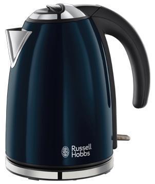 Russell Hobbs 18947-70 Colours, Royal Blue электрочайник18947-70Добавьте больше цвета на вашу кухню с чайником Colours Royal Blue. Стильный, изящный чайник, выполеннный в лакированном корпусе королевского синего цвета с полированными акцентами и тиснением логотипа Russell Hobbs безусловно добавит совеременную элегантность на вашу кухню.Объем 1.7 литра, приготовление до шести чашек, этого будет достаточно для всей семьи или офисной кухни. Поворотное основание 360° будет комфортным для пользования чайником левой или правой рукой. Встроенный отсек для хранения шнура избавит от лишних проводов и будет удобен при хранении чайника.