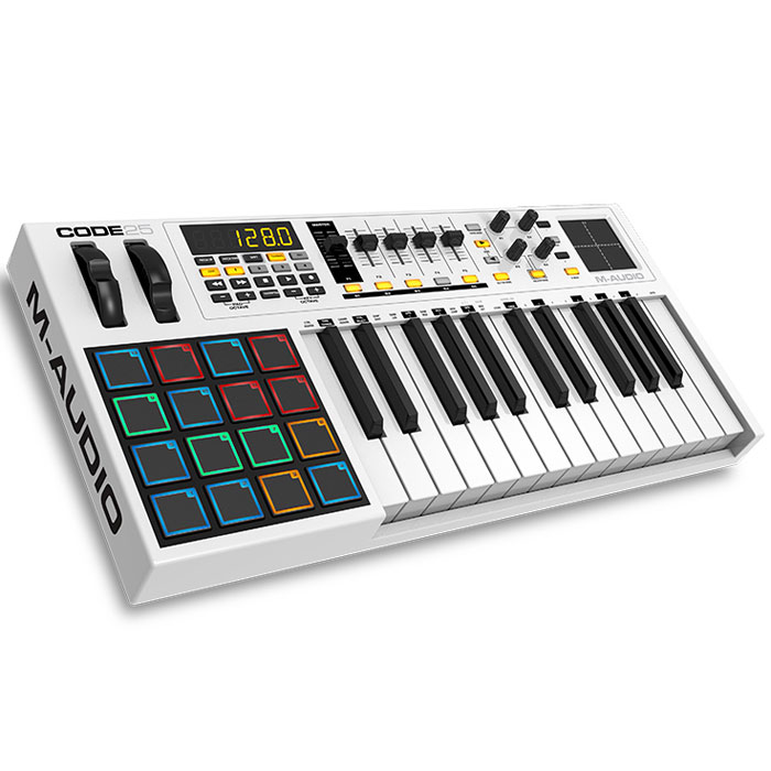 M-Audio Code 25 midi-клавиатураMCI53474Midi-контроллер M-Audio Code 25, выполненный в дизайнерском стиле «Mondrian-esque», поражающий воображение.Code контроллеры оборудованы всем необходимым для создания самого серьезного музыкального творения. Обширные параметры назначаемых регуляторов, банк фейдеров, ручки, кнопки, пэды и колеса модуляции и тона уже знакомы нашему взору, а новое в линейке контроллеров это X/Y Touchpad, который дает дополнительное и прямое взаимодействие с параметрами плагинов эффектов и инструментов через X/Y ось. Плюс клавиатура может быть разделена на 4 назначаемые зоны для максимальной гибкости и функциональности. Почти каждое DAW использует сочетание клавиш для выполнения общих функций (добавление треков, вырезание, вставка и т. д). теперь с поддержкой ASCII/HID команды сочетания клавиш можно сопоставить часто используемые прямо в сам контроллер, упорядочив рабочий процесс и сделав его более быстрым и эффективным. Code также поддерживает Mackie Control/HUI режим управления и поэтому вы можете работать с любым DAW с минимальными настройками. Code имеет 16 назначаемых, чувствительных к скорости нажатия барабанных пэдов с RGB подсветкой. Ручки, кнопки и фейдеры также имеют цветовую кодировку, показывая какой режим на них установлен. Буквенно-цифровой LED дисплей информирует о параметрах и настройках. Нет никакой путаницы, никаких догадок только точный контроль. Плюс в комплект входит программное обеспечение Ableton Live Lite, полная версия AIR Music Technology виртуальных инструментов Loom и Hybrid 3.0 - так что вы имеете доступ к лучшим инструментам для вашего творчества.Особенности:25 полноразмерных полувзвешенных клавиш с функцией aftertouch;16 пэдов со светодиодной RGB-подсветкой, чувствительных к скорости нажатия;режим Split с разделением клавиатуры на 4 зоны;X-Y тачпад;5 назначаемых слайдеров и 4 вращаемых регуляторов;колёса Pitch Bend и Modulation;кнопки управления транспортными функциями;совместимость с Mackie Control и HUI;питание по ши