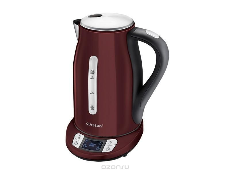 Oursson EK1775MD/DC, Dark Cherry электрочайникEK1775MD/DC Dark CherryПо словам экспертов, некоторые чаи не должны завариваться кипящей водой. Например, зеленый чай должен завариваться при температуре 70-80 °C, чаи улуны должны завариваться при 80-90 °C, вода для кофе (французского эспрессо) не должна быть выше 90 °C. Электрический чайник Oursson EK1775MD справится с этими задачами «на ура», благодаря трем режимам работы, выбрать один из которых можно простым нажатием кнопки. Этот чайник умеет не только кипятить воду, но также нагревать ее до определенной, нужной вам, температуры, а также поддерживать необходимую температуру в течение двух часов.
